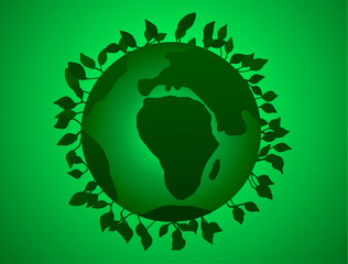 Vector illustration of Earth Day, Green Planet with leaves