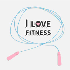Skipping jumping rope I love fitness Sport Flat design