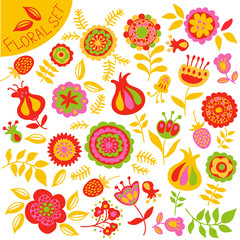 set of colorful cute flowers
