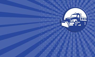 Business card Snow Plow Truck Circle Retro