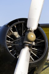 White airplane propeller with two blades