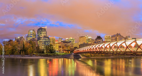 Staande foto Brug Calgary at night
