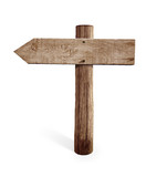 old wooden left arrow road sign isolated