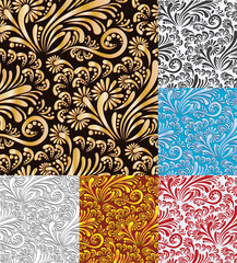 Six Floral  Seamless Pattern Vector Background.