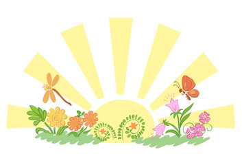 sun with flora and fauna - vector illustration
