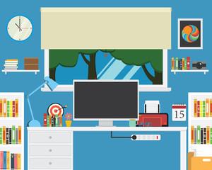 Vector of office workstation .creative desk ,book