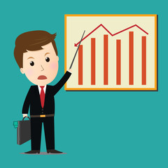 Vector of Businessman point on investment graph presentation