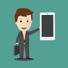 Vector of Businessman holding smartphone