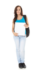 Attractive student standing in front of white background.