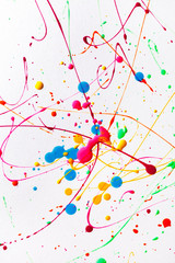 Colorful bright ink splashes