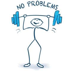 Strichmännchen mit mit Gewichtheben und keine Probleme