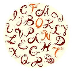 Calligraphy alphabet set