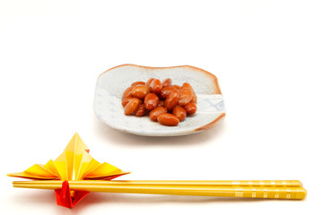 Red kidney bean with chopsticks Japan