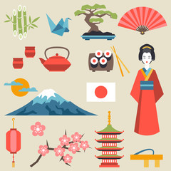 Japan icons and symbols set.