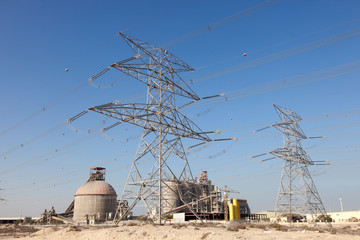 High voltage power line in Jebel Ali, Dubai, UAE
