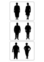 illustration of silhouette fat people becoming slim