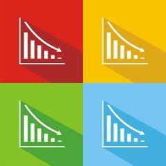 Iconos caída beneficios colores sombra