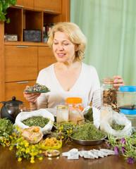 Senior  woman doing herbal tea