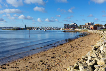 View to Poole harbour and quay Dorset England UK