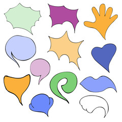 Vector Set of Color Flat Comics Bubbles. Talk and Think