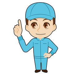 指をさす帽子の作業者