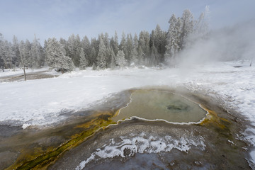 Colorful geyser flow in winter