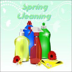 Different detergents with flowers on pastel background with a pa