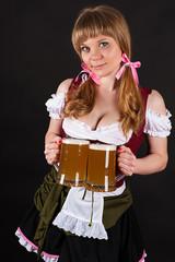 seductive Oktoberfest with beer in hand