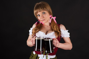girl Oktoberfest with beer in hand