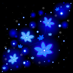 Beautiful floral background with glowing flowers and sparkles