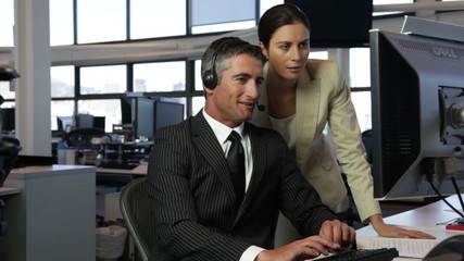 Couple of call center operators