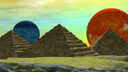 Distant World with two Planets and Egyptian style Pyramids
