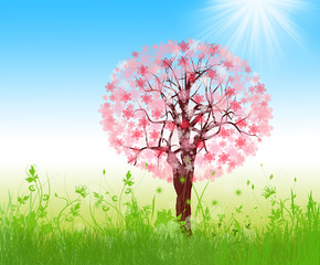 Spring landscape with blooming tree on blue sky illustration