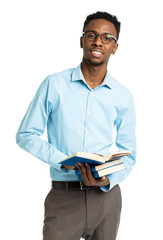 African american college student with books in his hands  standi