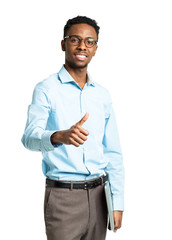 Happy african american college student with laptop and finger up