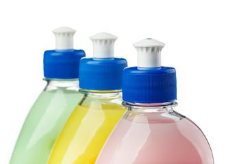 Top of color plastic bottles