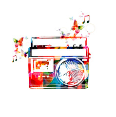 Colorful retro radio design with butterflies