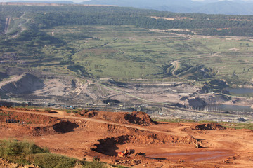 A very Large excavator at work in one of the mining lignite