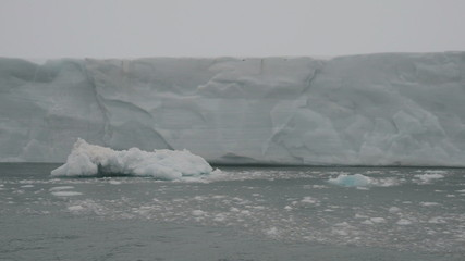 Sailing along a glacier reaching the sea 1