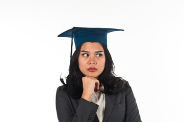 Graduated woman confusing her future career