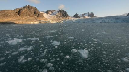 Navigation toward a glacier reaching the sea