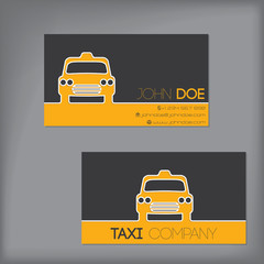Taxi business card with cab silhouette