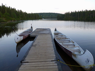 Canoes and pontoon
