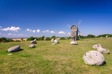 Old stone henge and windmill