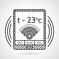 Black line vector icon for heating control device