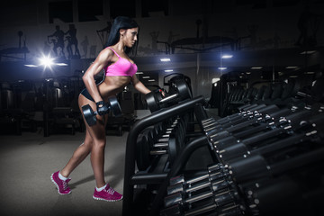 fitness woman in sport wear with perfect fitness body in gym