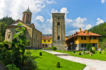 Church yard inside 13th century Rača monastery walls