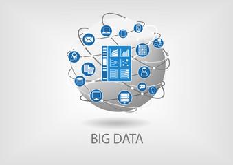Big data analytics dashboard vector illustration flat design
