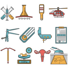 Flat icons set for obstetrics