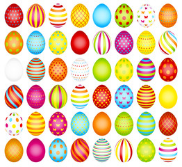 Collection Easter Eggs Pattern Rainbow